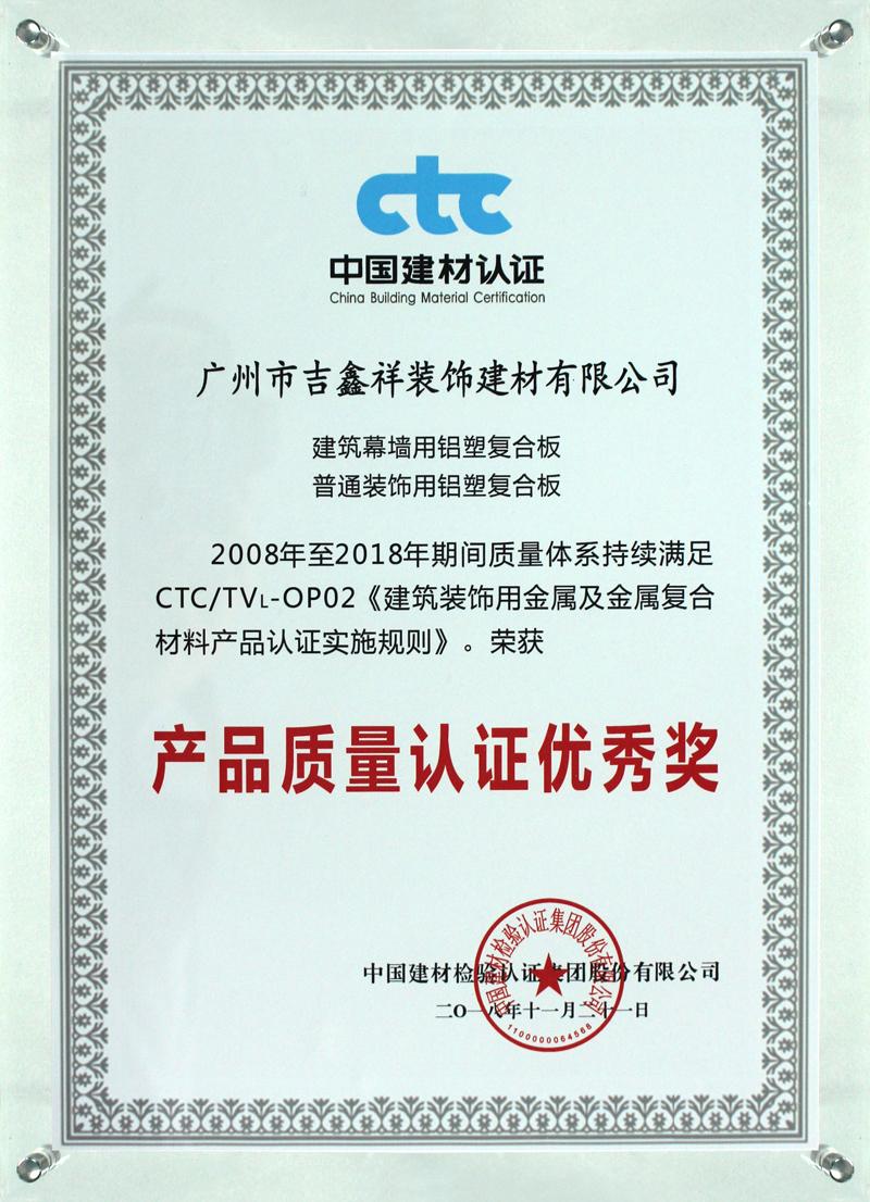 产品质量认证优秀奖(2018年11月21日颁发)